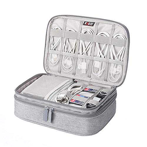 Pawaca Portable Electronic Accessories Cases,Wear-Resistant Waterproof Multi-fonction Large Capacity Travel Gadget Organizer Bag for iPad Mini,Power Bank,Cables, Earphone,USB Flash Drive,Chargers from Pawaca