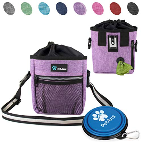 Training Treat Pouch - PetAmi Dog Treat Pouch | Dog Training Pouch Bag with Waist Shoulder Strap, Poop Bag Dispenser and Collapsible Bowl | Treat Training Bag for Treats, Kibbles, Pet Toys | 3 Ways to Wear (Purple)