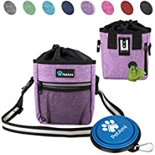 PetAmi Deluxe Dog Training Pouch with Shoulder/Waist Strap and Built-in Poop Bag Dispenser | Dog Treat Training Bag for Treats, Kibbles, Pet Toys | Collapsible Food/Water Bowl Included (Purple)