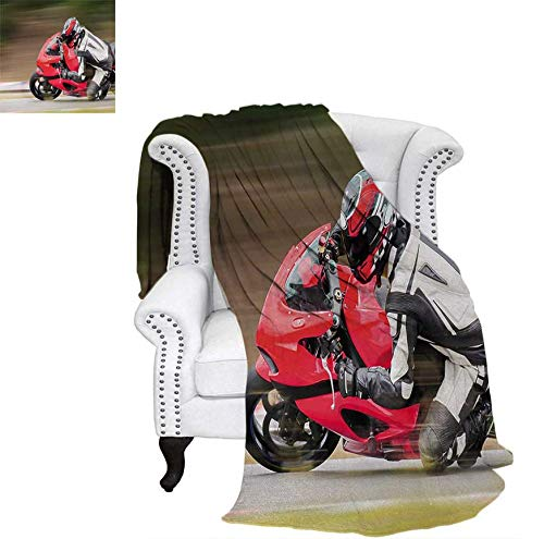 """Digital Printing Blanket Racing Motorcycle Athlete in Speed Turning on The Road Activity Colorful Picture Lightweight Blanket 90""""x70"""" Multicolor"""