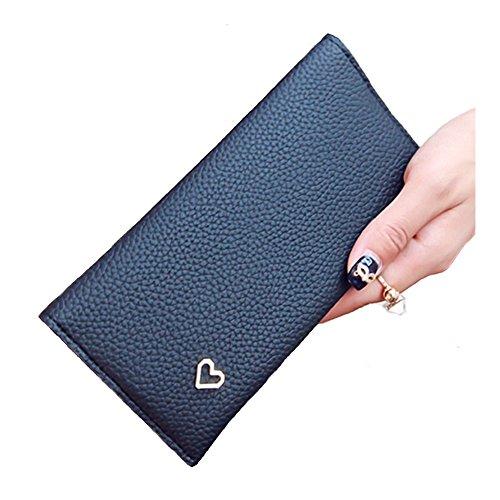Women Retro Long Leather Wallet Black Pink - 1
