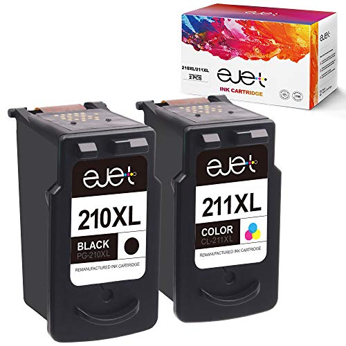 ejet Remanufactured Ink Cartridge Replacement for Canon PG-210XL CL-211XL 210 XL 211XL to use with PIXMA IP2702 MX410 MP495 MP230 MP240 MP280 MX340 MX350 MX360 Printer (Black, Tri-Color, 2-Pack) (Ink Canon Cartridge Cl211xl)