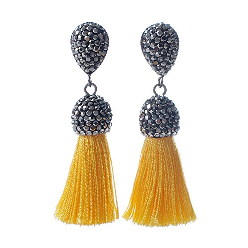 Women's Dangle Drop Short Tassel Earrings with Shell Pearl Black Rhinestone Top (Yellow with WB) (Silk Tassel)