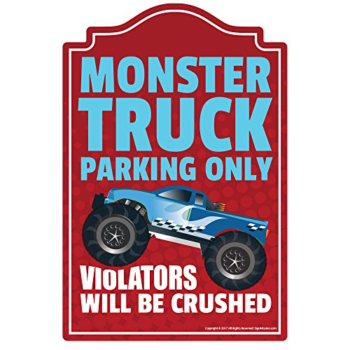 Monster Truck Parking Novelty Sign | Indoor/Outdoor | Funny Home Décor for Garages, Living Rooms, Bedroom, Offices | SignMission Wall Lover Gag Gift Sign (Monster Sign)