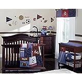 NoJo Play Ball, 9-Piece Crib Bedding Set, Navy/Red/Indigo/Ivory/Brown