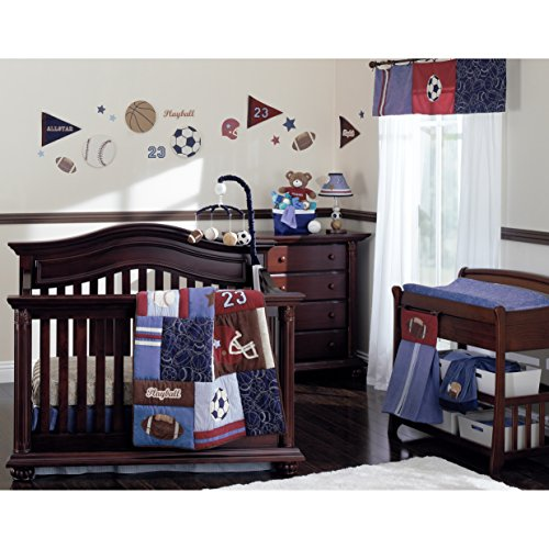 - NoJo Play Ball, 9-Piece Crib Bedding Set, Navy/Red/Indigo/Ivory/Brown