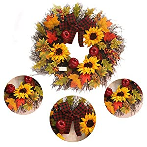 """Decorative Leaves & Berries 17"""" Fall Sunflower Maple Leaf Harvest Wreath, Autumn Colors Enhance Home Decor, for Front Door or Indoor Wall Décor to Celebrate The Thanksgiving & Fall Season 4"""