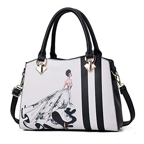 Ladies Handbags HuAma Shoulder Mobile Printing Messenger Black Bag Summer Bag 2018 Ladies Wild 1TY8x