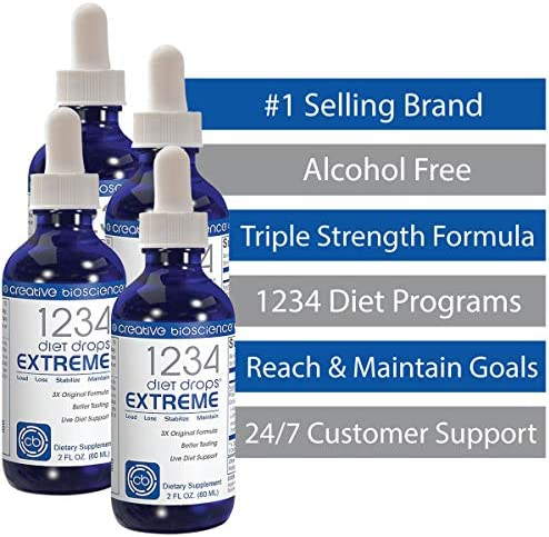 Creative Bioscience 1234 Diet Drops Extreme - Weight Loss Drops with Key Amino Complex for Keto Diet, Intermittent Fasting, 1234 Diet, 2 Fl Oz (4 Pack) 4