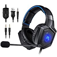 RUNMUS Gaming Headset Gaming Headphones for PS4, Xbox One (Adapter Needed), Nintendo Switch (Audio) etc. PC Gaming Headset with Stereo Surround Sound, LED Lighting & Noise Canceling Microphone
