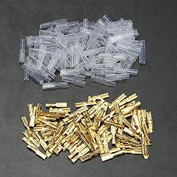 NO LOGO FMN-Connector tama/ño : 100 2.8mm Female 200//100 Piezas de crimpado Hembra Terminal Conector 2,8//4,8//6,3 mm Oro Lat/ón Coche el/éctrico Conectores de Cable del Altavoz Conjunto 22-16 AWG