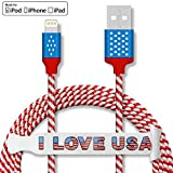 iPhone Lightning Cable CSHope Apple Certified 5ft MFI Cable USB Charge and Data Sync, US Flag Design Nylon Braided Charger Cable for iPhone iPad and iPod (1pc Flag Color)