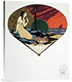 Global Gallery GCS-278070-36-142 ''Paul Iribe Fan: Woman Seated On Pillow Looking At Sea'' Gallery Wrap Giclee on Canvas Wall Art Print