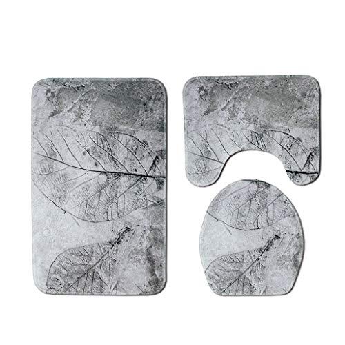 Fiaya 3Pcs /4PCS Stone Pattern Ocean Tortoise Bathroom Set Rug Contour Mat+Toilet Lid Cover +Plan Solid Color Bath Mats +Shower Curtain (3PCS, Gray Leaf)