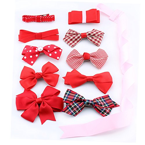BonnyGirl Boutique Baby Girls Toddler Hair Bow Clips Barrettes with Hair Bows Holder (Red)