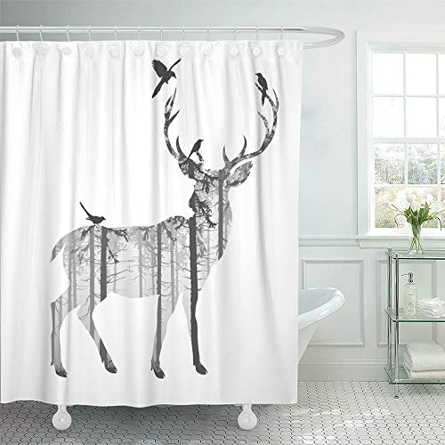 Emvency Shower Curtain Waterproof Adjustable Polyester Fabric Hunting Silhouette of Deer with Pine Forest and Birds Black and White Colors Stag 60 x 72 Inches Set with Hooks for -