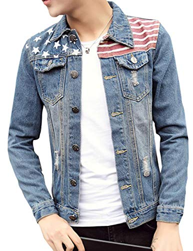 Fubotevic Men's Regular Fit Single Breasted Ripped Washed Lapel Collar American Flag Denim Jacket Jean Coat 1 M