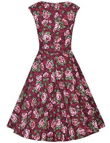 MUXXN Falda de Oscilación de Cóctel Manga Casquillo Cuello de Cariño Retro 1950s para Mujer Burgundy Rose