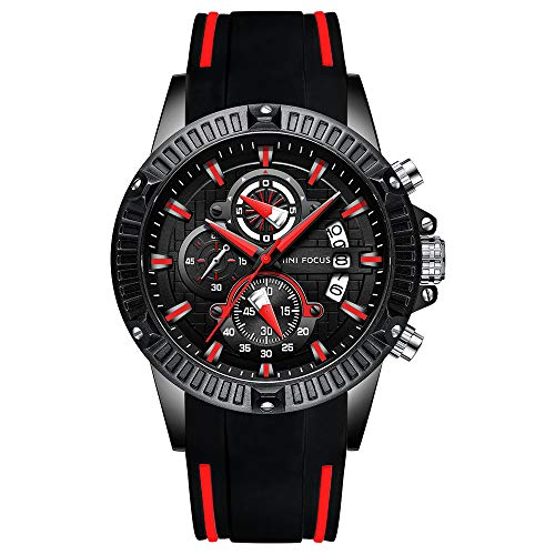 MINI FOCUS Men Casual Sport Watches Fashion Quartz Chronograph Waterproof Wristwatch for Men with Date Display