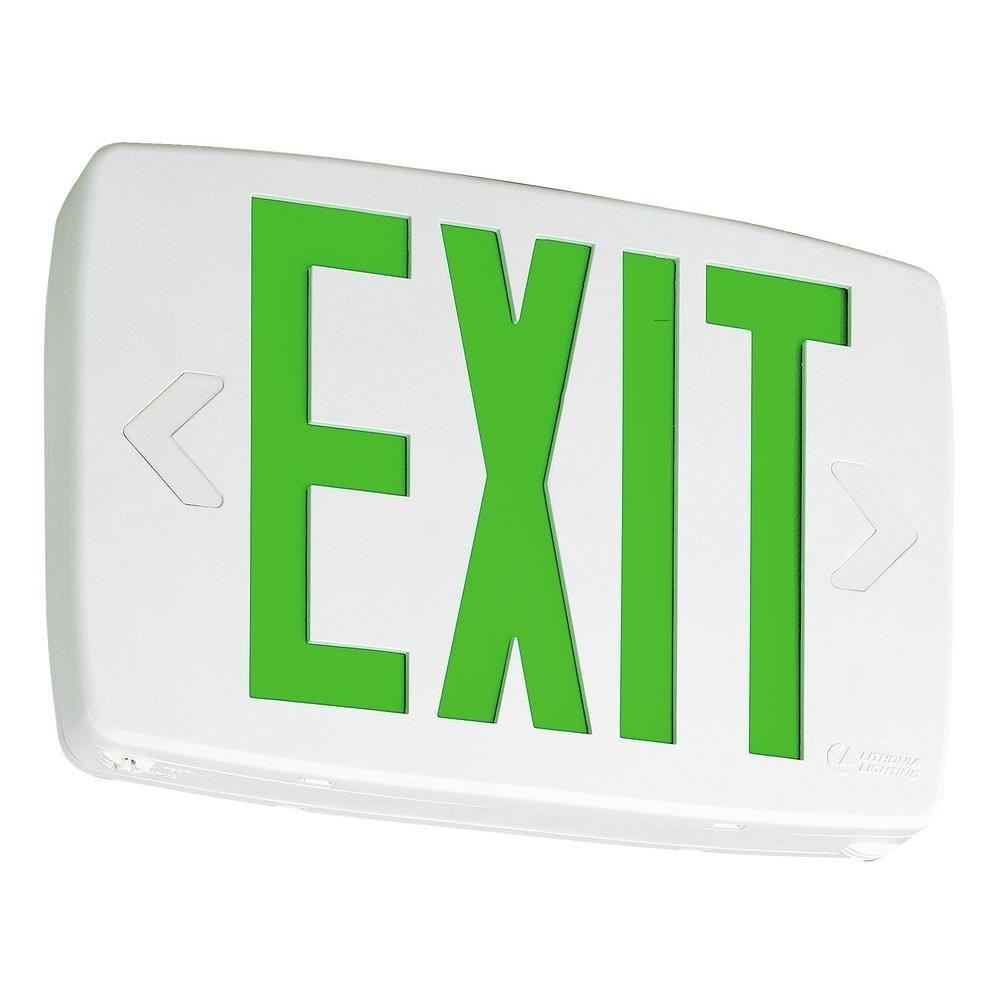 Lithonia Lighting LQM S W 3 G 120/277 EL N GRN Quantum Thermoplastic Led Emergency Exit Sign, White