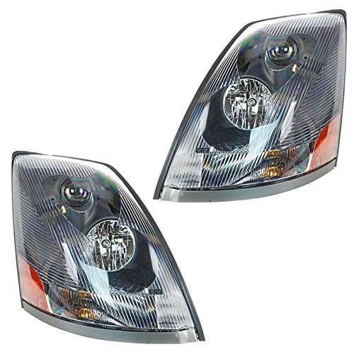 - Headlight Headlamp Black Bezel Aero Lens Pair Set of 2 for Volvo VNL