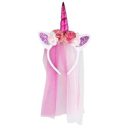 MagiDeal Diadema con Velo de Niñas Forma de Unicornio Accesorio Decorativo de Traje de Cosplay Partido Vestido de Fantasía - Rosa roja