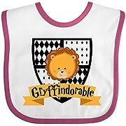 Inktastic - Gryffindorable Crest with Lion Head Baby Bib White/Raspberry