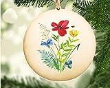 Wood Watercolor Flower Ornament