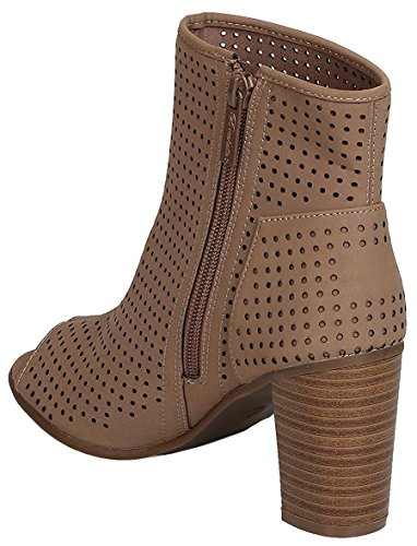 Breckelles Bootie Perforated Chunky Women's Peep Toe Taupe Heel Stacked q0PqSwr