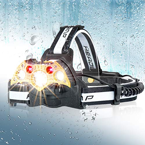 Headlamp Rechargeable, LED Headlight 5 Modes, LED Work Headlight Waterproof, Head Torch Lighting Range up to 500M, Brightest 10000 Lumen Headlight Flashlight for Camping, Running, Fishing, - Total Extend Recharge Color