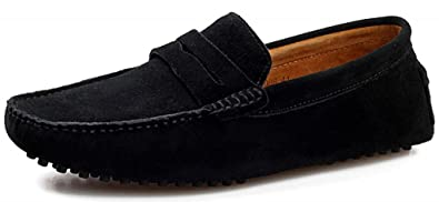 3870386afe1 SUNROLAN ylw2088heise38 Men s Dress Shoes Suede Slip on Flats Dress Loafer  Slim Mocassin Leather Boat Driving