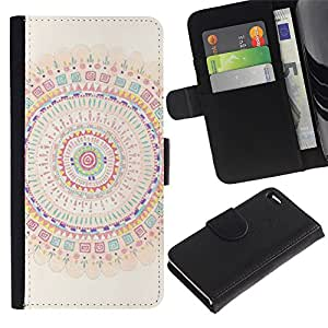 APlus Cases // Apple Iphone 4 / 4S // Círculo Mandala Arte colorido Espiritual // Cuero PU Delgado caso Billetera cubierta Shell Armor Funda Case Cover Wallet Credit Card