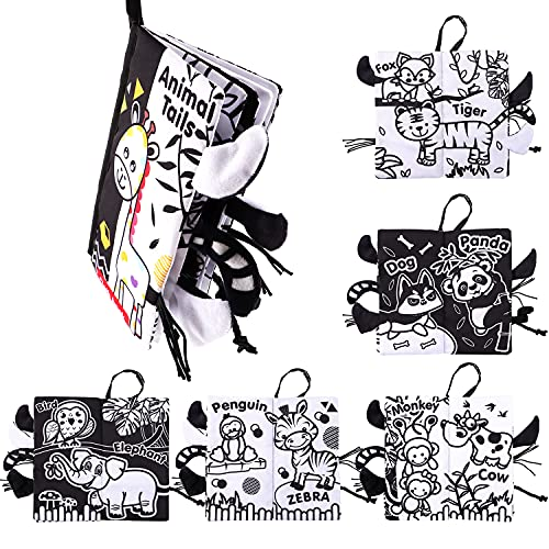 Byson Baby Cloth Books My First Book, Nontoxic Fabric Activity Crinkle Baby Soft Cloth Books Toys Baby's First Books Early Educational Toys for Baby's Boys and Girls (Black and White Tail - 1 Book)