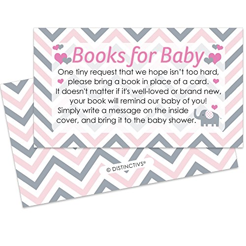 Pink and Gray Elephant Baby Girl Shower Books for Baby Request Cards (Set of 20)
