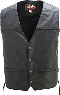 product image for American Made - Leather Motorcycle Vest Seamless Full Panel Back Perfect for Motorcycle Patches.
