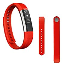 For Fitbit Alta,Haoricu Soft Silicone Watch band Wrist strap+ HD Protective Film (Red)
