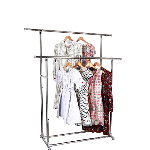 ATBAY Clothes Rack Double Rod Extendable All-Metal Heavy Dut