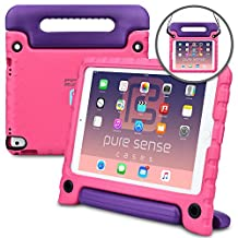 Apple iPad Pro 9.7 iPad Air 2 case, [NEW] PURE SENSE BUDDY Rugged Kids Shoulder Strap Anti Microbial Germ Bacteria Heavy Duty Children Drop Proof Toy Carry Cover Handle Stand Screen Protector (Pink)