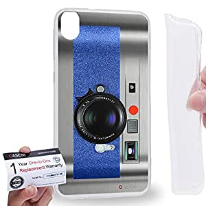Case88 [HTC Desire 820] Gel TPU Carcasa/Funda & Tarjeta de garantía - Art Drawing Blue Retro Old Style Camera Art1883