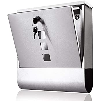 Locking Mailbox Wall Mount Key Drop Box Stainless Steel
