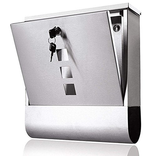 Locking Mailbox Wall Mount Key Drop Box, Stainless Steel Hanging Modern Mailbox with Newspaper Holder for Home Houses Outdoor Garden by Evokem