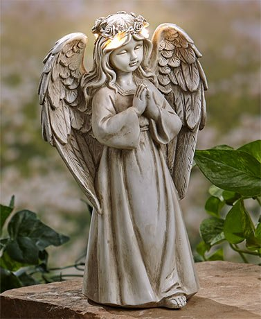 (fearfullymade Celebrity Lawn Garden Flower Bed Angel with Solar Halo Lights Statue (Angel With Praying Hands))
