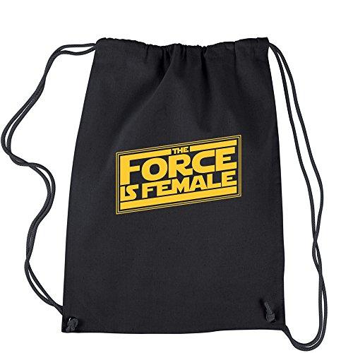 Backpack The Force is Female Feminist Star Warship Black Drawstring Backpack (Star Vs The Forces Of Evil 18)