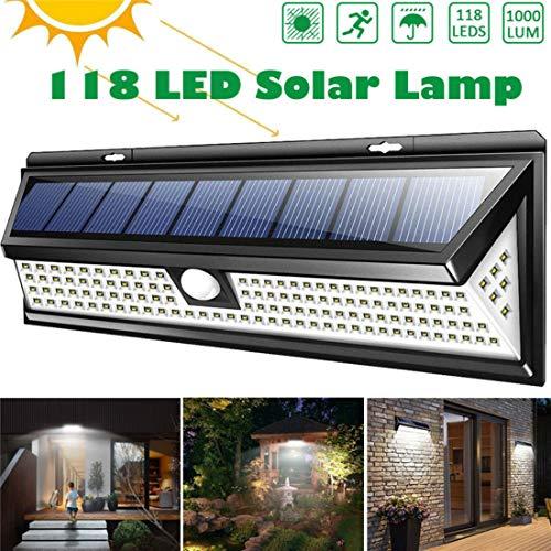 PCEPEIVK LED Solar Lamp 118 LED 1000LM Waterproof PIR Motion Sensor Solar Garden Light Outdoor LED Solar Lamp 3 Modes Security Pool Door Solar Lighting