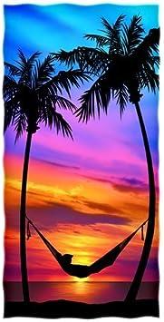 Emoya Serviette de plage Motif coucher de soleil et palmiers tropicaux Grand format 94 x 188 cm