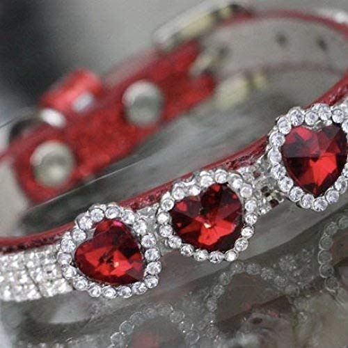 (Dog Collars, Red Ruby Hearts with Diamonte Clear Crystal Rhinestones - July Birthstone - Zodiac for Dog Pet Jewelry Collar Necklace, Rockstar Pet Collars TM, Sizes XS- 3XL,)