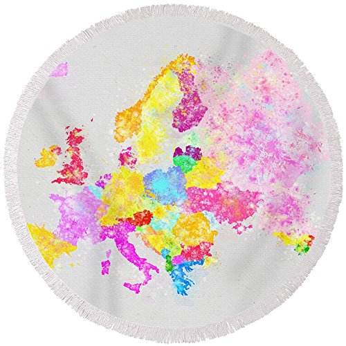 Pixels Round Beach Towel With Tassels featuring ''Europe Map'' by Setsiri Silapasuwanchai by Pixels