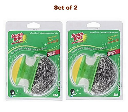 3M Scotch-Brite Jumbo Heavy Duty Stainless Steel Scouring Pad With Handle (Set of - Out Plastic Buffing Scratches Of