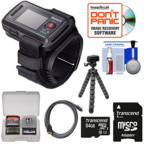 Sony RM-LVR2 Live View Wireless Wristband Remote with 64GB Card + Flex Tripod + Kit for Action Cam HDR-AS20, AS30V, AS100V, AS200V, AZ1 & FDR-X1000V