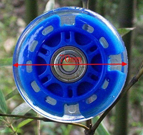 Rollerblade Replacement Wheels 64/70/76/80mm with LED Illuminating Lights, Bearings Included, Pack of 4 (Blue, 70mm)